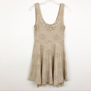 Free People beaded rose patterned dress